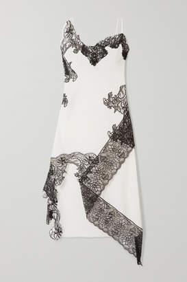Marques Almeida Marques' Almeida - Asymmetric Lace-trimmed Cotton-poplin Midi Dress - White