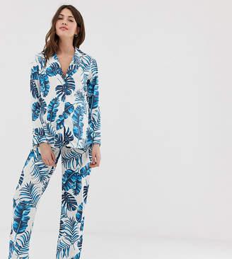 Asos DESIGN Maternity palm print pyjama trouser set in 100% modal