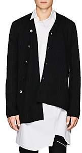Comme des Garcons Men's Asymmetric Wool-Blend Cardigan - Black