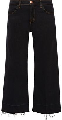 J Brand - Liza Cropped Mid-rise Wide-leg Jeans - Black $250 thestylecure.com