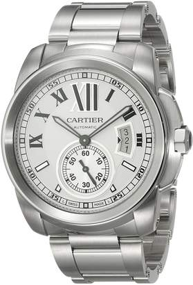Cartier Men's W7100015 Calibre de Silver Opaline Dial Watch