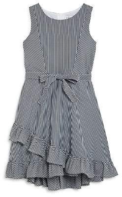 Us Angels Girls' Sleeveless Striped Ruffle Dress - Big Kid