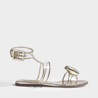 Valentino Glassglow Velvet Flat Bow Sandals in Light Poppy Velvet
