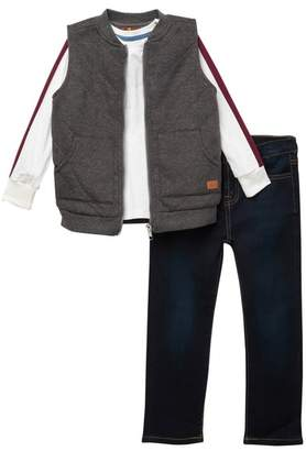 7 For All Mankind 3 Piece Fleece Vest Top Set (Toddler Boys)