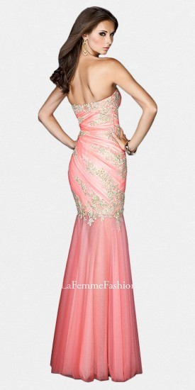 La Femme Strapless Beaded Lace Tulle Trumpet Prom Dresses