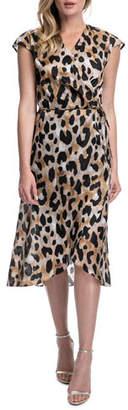 Gottex Kenya Cap-Sleeve Printed Coverup Wrap Dress