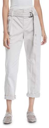 Brunello Cucinelli Paperbag-Waist Straight-Leg Cotton Pants w/ D-Ring Belt