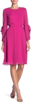 Nine West DRESS Metallic Dot Bell Sleeve Dress