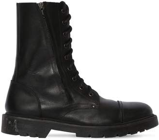 Vetements LEATHER ARMY BOOTS W/ LOGO TAG