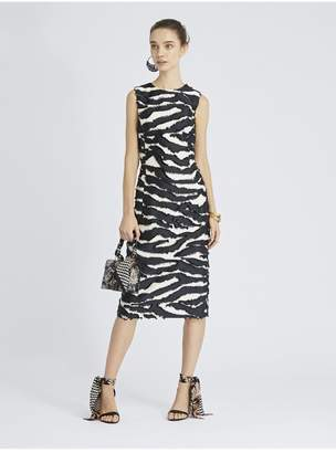 Oscar de la Renta Zebra Fil Coupe Pencil Dress