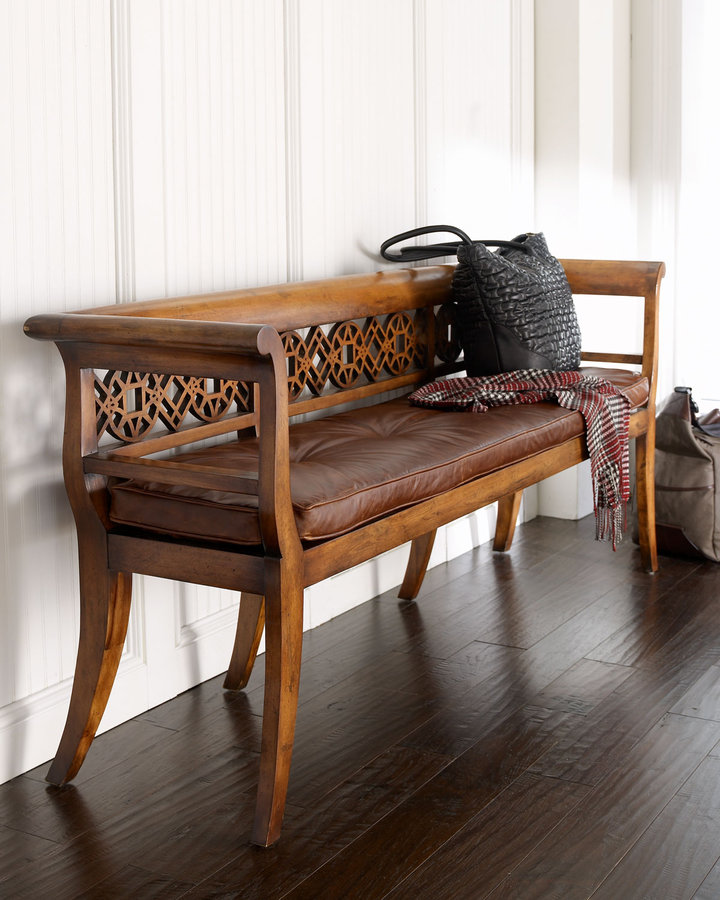 John-Richard Collection Leighton Wood & Leather Settee
