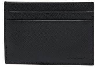 Prada Money Clip Saffiano Leather Cardholder - Mens - Black