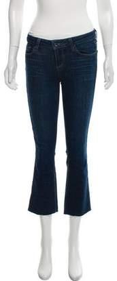 Paige Distressed Mid-Rise Straight-Leg Jeans