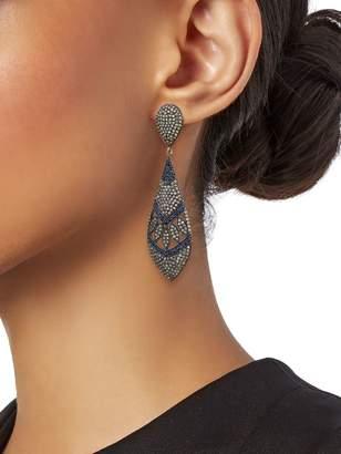Artisan 14K Gold, 925 Sterling Silver, Sapphire & Diamond Drop Earrings