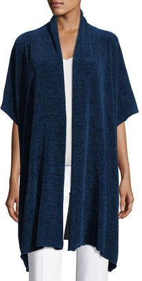 eskandar Short-Sleeve Chenille Shawl-Collar Cardigan
