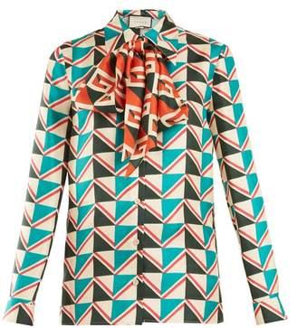 Gucci - Chevron Print Silk Twill Shirt - Womens - Blue Print
