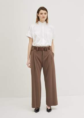 Issey Miyake Overlap Bottoms Solid Pants Brown