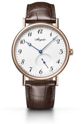 Breguet 40mm Classique 18k Rose Gold Watch w/ Alligator Strap, Brown/White