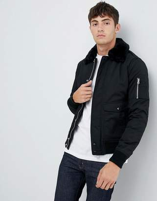 Schott Air bomber jacket with detachable faux fur collar in black
