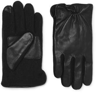 Polo Ralph Lauren Touchscreen Leather And Flannel Gloves