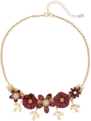 Lauren Conrad Gold Tone Red Flower & Leaf Motif Collar Necklace