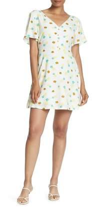 Lush Short Sleeve Front Button Print Dress