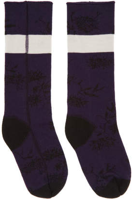 Haider Ackermann Purple and Black Flower Socks