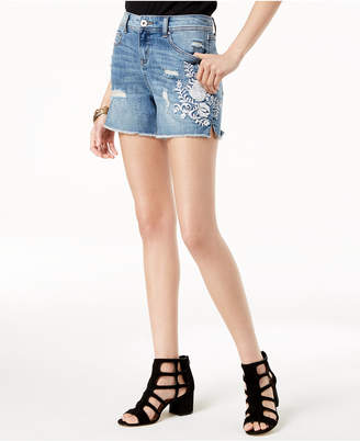 INC International Concepts I.n.c. Petite Embroidered Denim Shorts, Created for Macy's