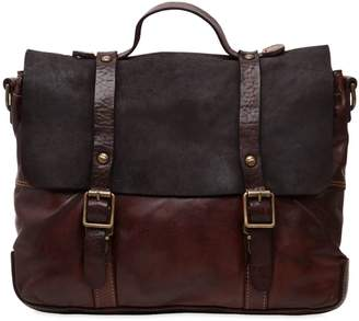 Campomaggi Vintage Effect Leather & Suede Briefcase