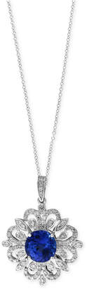 Effy Tanzanite Royale by Tanzanite (1-9/10 ct. t.w.) and Diamond (1/3 ct. t.w.) Scrolled Pendant Necklace in 14k White Gold, Created for Macy's