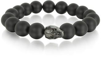 Swarovski Blackbourne Black Agate Stone Men's Bracelet w/Gunmetal Crystal Skull
