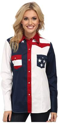 Roper Pieced Stars and Stripes Patriotic Women's Long Sleeve Button Up