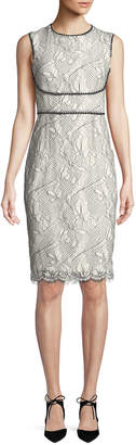Tahari ASL Alma Two-Tone Lace Sheath Dress