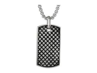 Steve Madden Checkerboard Design Dog Tag Necklace in Stainless Steel