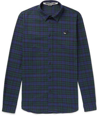 McQ Checked Slub Cotton Shirt - Blue