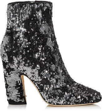 Jimmy Choo MIRREN 100 Black and Silver Double Faced Sequined Ankle Boots