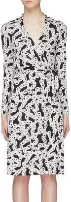 Diane von Furstenberg 'New Jeanne' belted chain link print silk jersey wrap dress