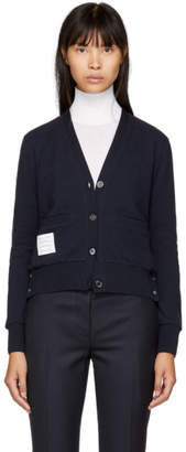 Thom Browne Navy Striped Classic V-Neck Cardigan