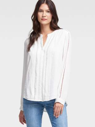 DKNY Long-Sleeve Button-Up With Stitch Detail