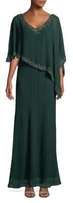 J Kara Embellished Asymmetric Gown