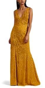 Women's Embellished Silk Gown - Saffron