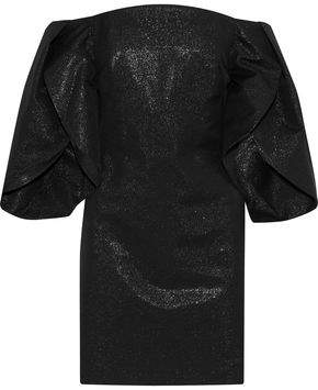 Halston Off-the-shoulder Metallic Cotton-blend Mini Dress