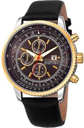 August Steiner Men's Swiss Quartz Multifunction Tachymeter Strap Watch, 46mm