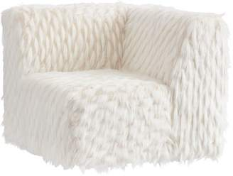 Pottery Barn Teen Riley Lounge Corner Chair, Winter Fox Faux-Fur, QS UPS
