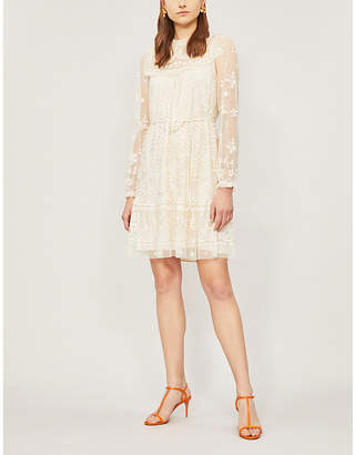 NEEDLE AND THREAD Esme floral-embroidered long-sleeved tulle mini dress