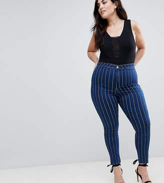 Asos Rivington High Waist Denim Jeggings In Indigo With White Stripes