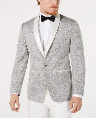 Ryan Seacrest Distinction Men Modern-Fit Silver Paisley Jacquard Dinner Jacket