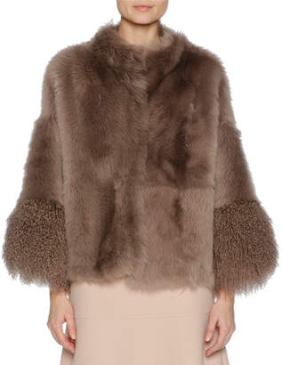 Agnona Easy Shearling Fur Cape, Brown