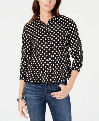 Tommy Hilfiger Cotton Polka Dot Peplum Button-Front Shirt