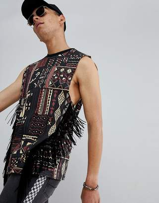 Asos DESIGN oversized tank with all over festival geo-tribal print and fringing